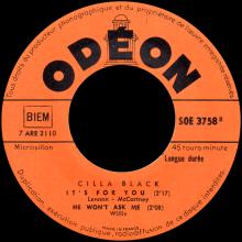 CILLA BLACK - IT'S FOR YOU - FRANCE - SOE 3758 - EP - pic 1