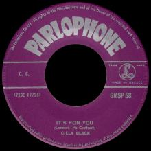 CILLA BLACK - IT'S FOR YOU - GREECE - GMSP 58 - pic 1