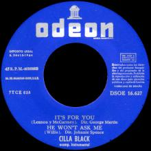 CILLA BLACK - IT'S FOR YOU - SPAIN - DSOE 16.627 - EP - A - pic 1
