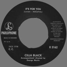 CILLA BLACK - IT'S FOR YOU - SWEDEN - R 5162 - pic 1