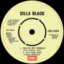 CILLA BLACK - IT'S FOR YOU - UK - EMI 2698 - EP - pic 1