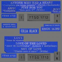 CILLA BLACK - LOVE OF THE LOVED - SPAIN - DSOE 16.592 - C - EP - pic 1