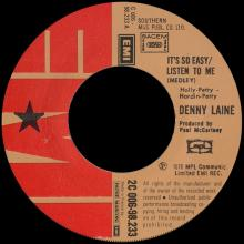 DENNY LAINE - IT'S SO EASY ⁄ LISTEN TO ME - I'M LOOKING FOR SOMEONE TO LOVE - FRANCE - 2C 006-98.233 - pic 1