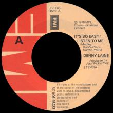 DENNY LAINE - IT'S SO EASY ⁄ LISTEN TO ME - I'M LOOKING FOR SOMEONE TO LOVE - HOLLAND - 5C 006-98233 - pic 1