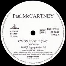 FRANCE 1993 00 00 PAUL McCARTNEY - C'MON PEOPLE - SP 1661 - ONE SIDED 12INCH PROMO - pic 1