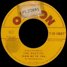 FRANCE THE BEATLES JUKE-BOX 45 - 1963 10 16 - A 1 - 7 S0 10087 - FROM ME TO YOU ⁄ PLEASE PLEASE ME  - pic 1