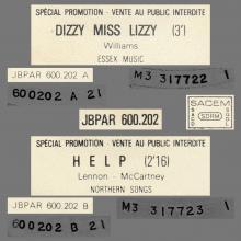 FRANCE THE BEATLES JUKE-BOX 45 - C - 1977 00 00 - JBPAR 600.202 - DIZZY MISS LIZZY ⁄ HELP - PROMO - pic 1