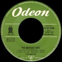 GERMANY 1963 10 OO - THE BEATLES HITS - SLEEVE 1 - ELECTROLA 7 LINES - O 41 598 - GEOW 1286 - pic 1