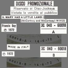 ITALY 1972 06 14 WINGS ⁄ PAUL McCARTNEY - MARY HAD A LITTLE LAMB - 3C 040-60018 - 12INCH PROMO - pic 1
