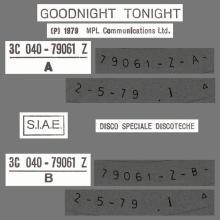 ITALY 1979 05 02 PAUL McCARTNEY - GOODNIGHT TONIGHT - 3C 040-79061 Z - 12INCH PROMO - pic 1