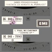 ITALY 1980 06 11 PAUL McCARTNEY - COMING UP - 3C 040-79143 - 12INCH PROMO - pic 1
