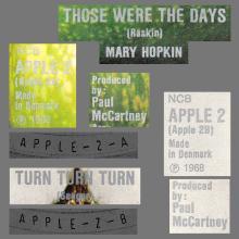 MARY HOPKIN - 1968 08 31 - THOSE WERE THE DAYS ⁄ TURN, TURN, TURN - APPLE 2 - DENMARK - BLUE SLEEVE  - pic 1