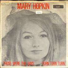 MARY HOPKIN - 1968 08 31 - THOSE WERE THE DAYS ⁄ TURN, TURN, TURN - APPLE 2 - DENMARK - ORANGE SLEEVE - pic 1