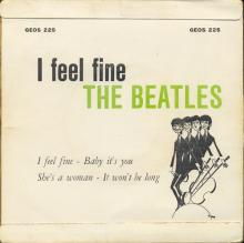 NORWAY EP 1964 11 00 - I FEEL FINE - GEOS 225 - LABEL GREEN ARCHED ODEON - pic 1