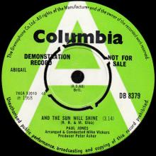 1968 03 08 - PAUL JONES - AND THE SUN WILL SHINE ⁄ THE DOG PRESIDES - DB 8379 - UK - PROMO - pic 1