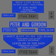 PETER AND GORDON - I DON'T WANT TO SEE YOU AGAIN - 7EPL 14.175 - SPAIN - EP -B - pic 1
