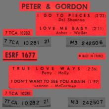 PETER AND GORDON - I DON'T WANT TO SEE YOU AGAIN - ESRF 1677 - FRANCE - EP - pic 1