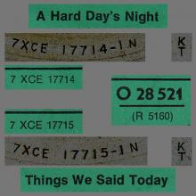 THE BEATLES DISCOGRAPHY AUSTRIA 020 A HARD DAY'S NIGHT ⁄ THINGS WE SAID TODAY - O 28 521 - pic 4