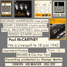 THE BEATLES DISCOGRAPHY FRANCE 1963 12 00 LES BEATLES - B - C - ORANGE ODEON OSX 222 - pic 1