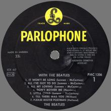 THE BEATLES DISCOGRAPHY SWEDEN 1963 11 22 WITH THE BEATLES - PMC 1206 - pic 1