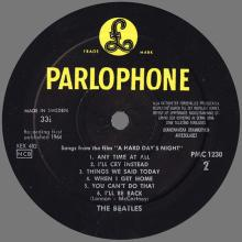 THE BEATLES DISCOGRAPHY SWEDEN 1964 07 10 THE BEATLES A HARD DAYS' NIGHT - PMC 1230 - pic 1