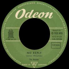 THE BEATLES DISCOGRAPHY SWITZERLAND - ODEON - O 22 893 - NO REPLY ⁄ EIGHT DAYS A WEEK - pic 1