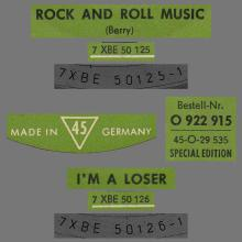 THE BEATLES DISCOGRAPHY SWITZERLAND - ODEON - O 22 915 - ROCK AND ROLL MUSIC ⁄ I'M A LOSER - GREEN LABEL - pic 1