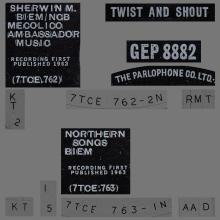THE BEATLES DISCOGRAPHY UK - 1963 07 12 - TWIST AND SHOUT - GEP 8882 - C - PARLOPHONE - pic 1