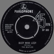 1960 - 1970 - EXPORT RECORD - 1965 09 00 - DP 563 - DIZZY MISS LIZZY ⁄ YESTERDAY - pic 1