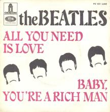 THE BEATLES FRANCE 45 - 1967 07 13 - SLEEVE 1 - FO 103 - ALL YOU NEED IS LOVE ⁄ BABY YOU'RE A RICH MAN - pic 1