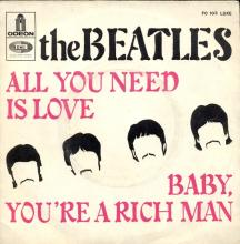 THE BEATLES FRANCE 45 - 1967 07 13 - SLEEVE 6 - FO 103 - ALL YOU NEED IS LOVE ⁄ BABY YOU'RE A RICH MAN  - pic 1