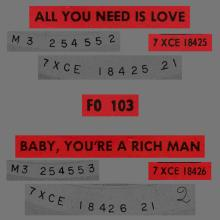 THE BEATLES FRANCE 45 - 1967 07 13 - SLEEVE 7 - FO 103 - ALL YOU NEED IS LOVE ⁄ BABY YOU'RE A RICH MAN  - pic 1