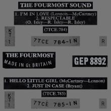 THE FOURMOST - HELLO LITTLE GIRL ⁄ I'M IN LOVE - GEP 8892 - UK - EP - pic 1