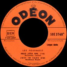 THE FOURMOST - HELLO LITTLE GIRL ⁄ I'M IN LOVE - SOE 3748 - FRANCE - EP - pic 1