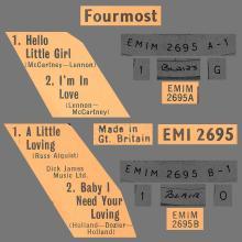 THE FOURMOST - HELLO LITTLE GIRL ⁄ I'M IN LOVE - EMI 2695 - UK - EP - pic 1