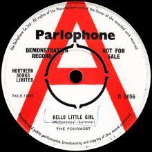 THE FOURMOST - HELLO LITTLE GIRL - R 5056 - UK - PROMO - pic 1