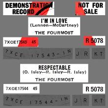 THE FOURMOST - I'M IN LOVE - R 5078 - UK - PROMO - pic 1
