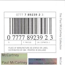The Paul McCartney Collection 01 McCartney 0777 7 89239 2 3 hol - pic 15