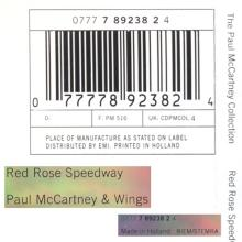 The Paul McCartney Collection 04 Red Rose Speedway 0777 7 89238 2 4 hol - pic 3