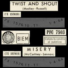 ITALY 1964 04 01 - PFC 7503 - TWIST AND SHOUT / MISERY - pic 1