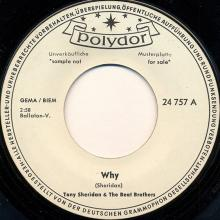 ger050   Why / Cry For A Shadow  Polydor 24 757 promo but unreleased - pic 1