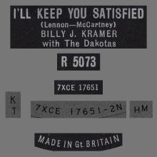 BILLY J. KRAMER WITH THE DAKOTAS - I'LL KEEP YOU SATISFIED - R 5073 - UK  - pic 1