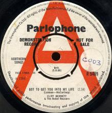 1966 08 05 - CLIFF BENNETT & THE REBEL ROUSERS - GOT TO GETYOU INTO MY LIFE - R 5489 - UK - PROMO - pic 1