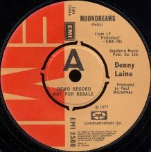 1977uk Denny Laine - Moondreams / Heartbeat -prom- EMI 2588 - pic 1