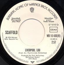 1974 05 24 MIKE McGEAR / SCAFFOLD - LIVERPOOL LOU - PROMO - WB 16 400 (N) - pic 1