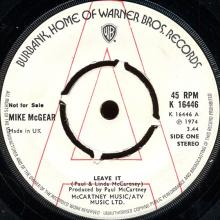 1974 09 06 - MIKE McGEAR - LEAVE IT / SWEET BABY - K 16448 - PROMO - UK - pic 1