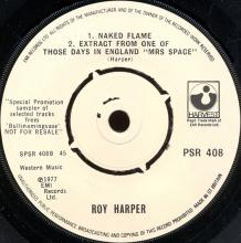 1977uk Roy Harper - One Of Those Days In England -promo- PSR 408 - pic 1