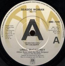 1977ukb Linda McCartney ( Alias Suzy And The Red Stripes ) - Seaside Woman / B-Side To Seaside -promo- AMS 7548 - pic 1