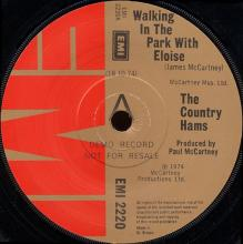 1974uk Country Hams - Walking In The Park With Eloise / Bridge On The River Suite -promo- EMI 2220 - pic 1