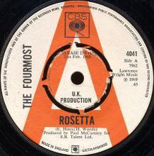 1969uk The Fourmost - Rosetta / Just Like Before -promo- CBS 4041 - pic 1